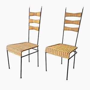 Französische Esszimmerstühle aus Rattan, Metall & Messing, 1950er, 2er Set