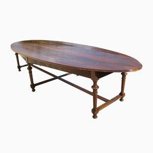 Großer antiker ovaler Konferenztisch aus Nussholz