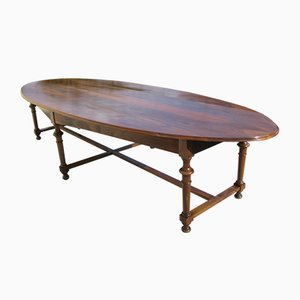 Large Antique Oval Walnut Conference Table