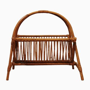 German Rattan Magazine Rack, 1960s
