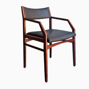 Vintage Armlehnstuhl aus Holz & schwarzem Kunstleder