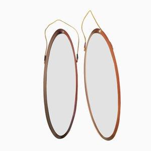 Dänische Spiegel mit Rahmen aus Teak, 1950er, 2er Set