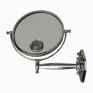 Art Deco French Nickel-Plated Illuminated Wall Mirror from Brot, 1920s