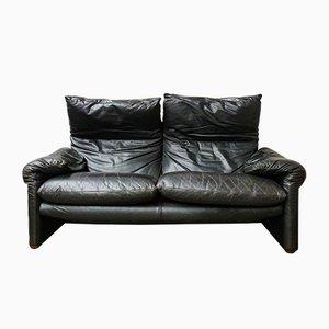 Schwarzes Vintage Modell Maralunga 2-Sitzer Sofa von Vico Magistretti für Cassina