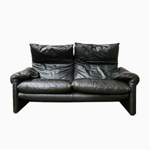 Vintage Black Model Maralunga 2-Seater Sofa by Vico Magistretti for Cassina
