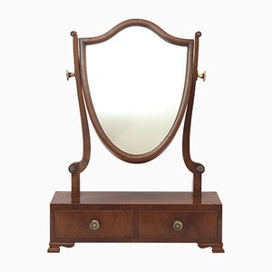 Antique Victorian Curl Mahogany Table Mirror, 1890s