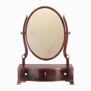 Antique Georgian Curl Mahogany Oval Table Mirror, 1790s