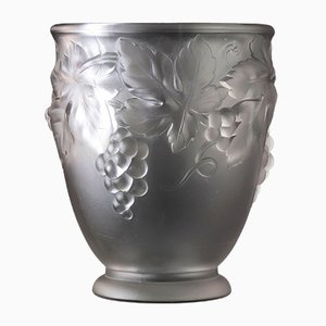 Art Deco French Frosted Glass Vase by Etling, 1920s