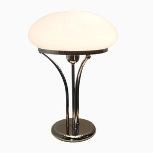 Mid-Century Chrome and Opaline Glass Table Lamp