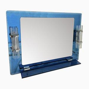 Espejo de baño de vidrio azul, años 80