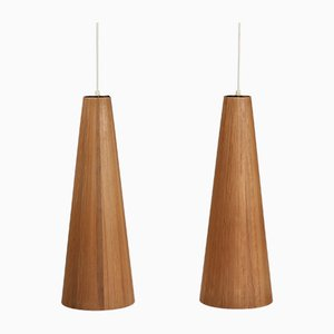 Scandinavian Modern Danish Pinewood Pendant Lamps by Jørgen Wolff, 1950s, Set of 2