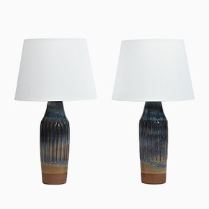 Scandinavian Modern Blue Ceramic Table Lamps by Sigvard Bernadotte for Lyfa, 1960s, Set of 2