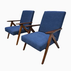 Mid-Century Navy Blue Model B310 Armchairs, 1960s, Set of 2