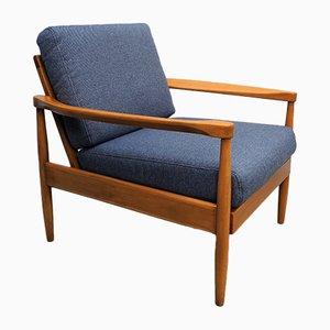 Blauer dänischer Sessel mit Tweed-Bezug, 1960er