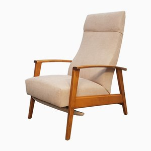 Fauteuil Inclinable Mid-Century Beige, Danemark, années 60