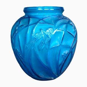 Antike blaue Glasvase von R. Lalique, 1910er
