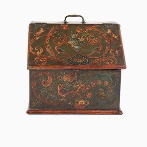 Caja antigua de madera pintada, 1808