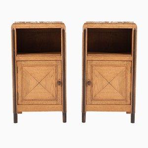Tables de Chevet Art Déco en Chêne, Pays-Bas, années 20, Set de 2