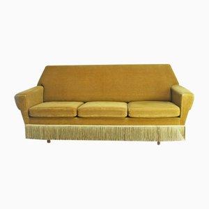 Danish Gold Velour Sofa, 1950s