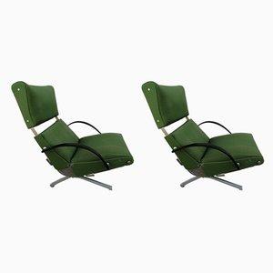 Model P40 Green Armchairs by Osvaldo Borsani for Tecno, 1950s, Set of 2