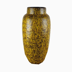 Large Mid-Century Yellow Fat Lava Vase from Scheurich, 1970s