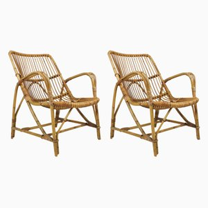 Mid-Century Italian Rattan Lounge Chairs, Set of 2