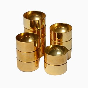 Swedish Gold Plated Shot Glasses by Pierre Forsell for Skultuna, 1960s
