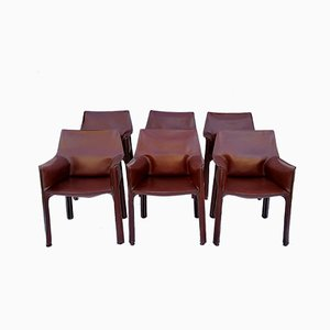Model CAB-413 Maroon Leather Dining Chairs by Mario Bellini for Cassina, 1980s, Set of 6