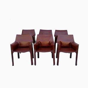 Modell CAB-413 Esszimmerstühle mit kastanienbraunem Lederbezug von Mario Bellini für Cassina, 1980er, 6er Set