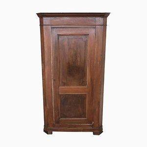 Mobiletto ad angolo antico in legno di noce massiccio, metà XIX secolo