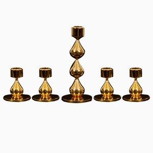 Portacandele placcati in oro di Hugo Asmussen per Design Asmussen, Danimarca, anni '70, set di 5