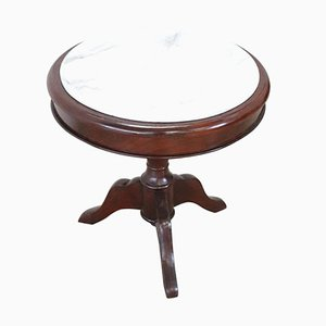 Table Basse Ronde d'Époque en Acajou et Marbre, années 1880