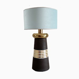 Italian Ceramic, Brass, and Velvet Table Lamp, 1970s