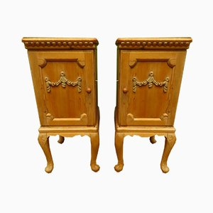 Antique Pine Nightstands, Set of 2