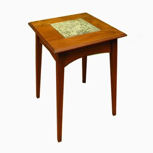 Tavolino antico in quercia e marmo