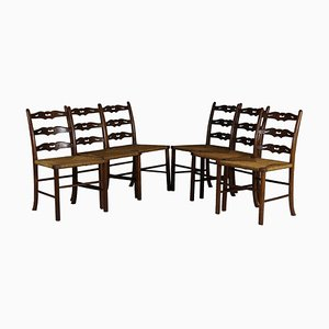 Antique Oak and Woven Rush Dining Chairs, Set of 6