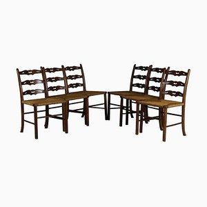 Sedie da pranzo antiche in quercia e in vimini, set di 6