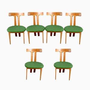 Skulpturale Esszimmerstühle im skandinavischen Stil, 1960er, 6er Set