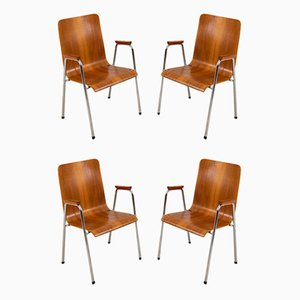Swedish Teak and Steel Dining Chairs, 1960s, Set of 4