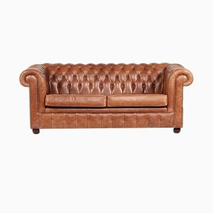 Chesterfield Dark Cognac Leather Sofa, 1980s