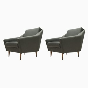 Wood and Fabric Armchairs by Eddie Harlis for Hans Kaufeld, 1960s, Set of 2