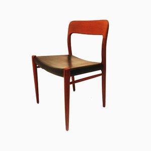 Chaise de Salle à Manger Modèle 75 Mid-Century en Teck par Niels Otto Møller pour J. L. Møllers