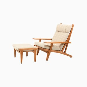 Model GE-375 High Back Lounge Chair and Footstool by Hans J. Wegner for Getama, 1970s, Set of 2