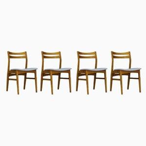 Chaises de Salle à Manger en Hêtre et Teck, Danemark, années 60, Set de 4
