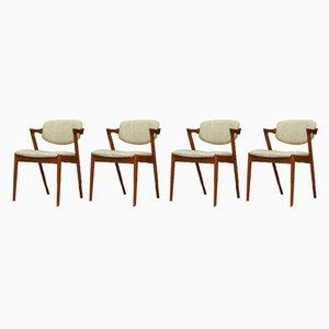 Esszimmerstühle aus Teak von Kai Kristiansen, 1960er, 4er Set