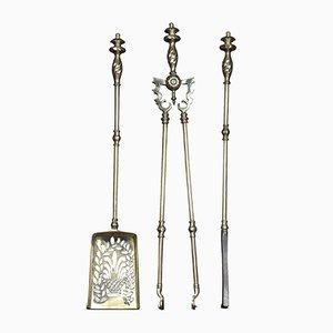 Antique Brass Fire Tool Set