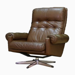 Vintage Danish Leather Lounge Chair, 1960s