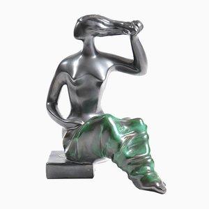 Keramikfigur mit Metallicglasur von Keramia, 1960er