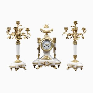 Antique White Marble and Gilt Metal Clocks