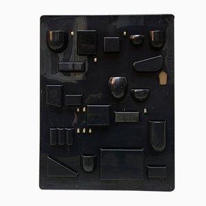 Mueble de pared italiano vintage de metal negro, años 70
